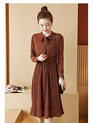 Sign chiffon dress 2017 spring new Korean version of Slim thin floral pleated skirt bottoming