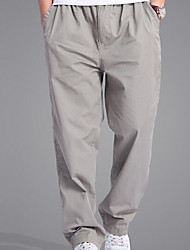 Men's High Rise Inelastic Chinos Pants,Active Loose Straight Solid