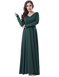 Women's Party Party/Evening Event/Party Engagement Birthday Party Sexy Cute Loose Swing Dress,Solid Round Neck Maxi Long SleeveCotton