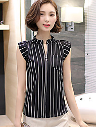 Women's Casual Simple Blouse,Solid Round Neck Sleeveless Cotton