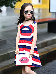 Girl's Stripe Dress,Polyester Summer Short Sleeve