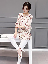 Women's Casual Simple Summer Blouse,Floral Round Neck Short Sleeve Polyester