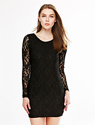Women's Plus Size / Going out / Casual/Daily Simple / Street chic Sheath DressSolid Round Neck Above Knee Long