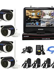 yanse® plug and play câmera IP de segurança visão kit NVR sem fio tela LCD p2p 960p HD IR noite sistema wi-fi CCTV de 10 polegadas