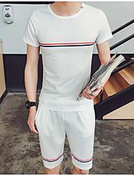 Tee-shirt Homme,Couleur Pleine Bureau/Carrière Athlétique Autre Décontracté simple Chic de Rue Actif Eté Manches Courtes Col Arrondi Coton