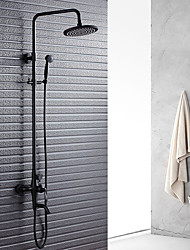 Classic & Timeless Shower System Rain Shower Widespread Handshower Included with  Ceramic Valve Two Handles Two Holes for  Oil Rubbed Shower Faucet