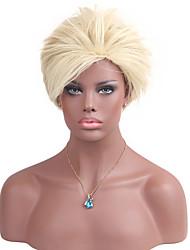 Femme Court Blond Fraise / Blond Platine Raide Cheveux Synthétiques Sans bonnet Perruque Naturelle