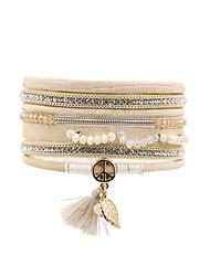 Fashion Women Multi Rows  Rhinestone Spring Tassel Magnet Leather Bracelet