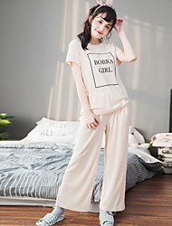 Women's Sleep Wear Suit Fresh Simple English Letetrs Patten Cosy Pajamas Set