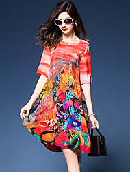Women's Going out Street chic Loose Shift Dress,Print V Neck Knee-length Short Sleeve Silk Polyester Summer Mid Rise Micro-elastic Medium