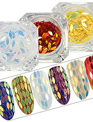 0.2g/bottle New Fashion Charming DIY Graceful Sequins Decoration Rainbow Color Shining Thin Slice Nail Art Glitter Horse Eye Paillette Flakes MB01-13