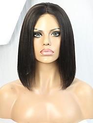 Короткая стрижка yaki bob 10 дюймов человеческий волос кружева передний парик с отбеленными узлами
