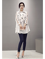 Women's Party/Evening Daily Cute Sophisticated Blouse,Print Embroidery Shirt Collar Long Sleeve Linen