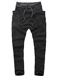Men's Low Rise Micro-elastic Harem Pants,Street chic Harem Solid