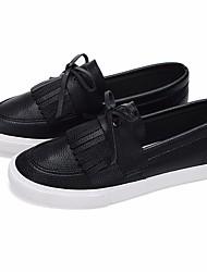 Damen Loafers & Slip-Ons PU Frühling Weiß Schwarz Flach