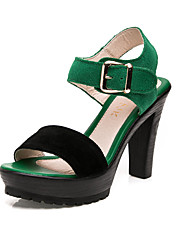 Women's Sandals Club Shoes Leather Summer Casual Stiletto Heel Green Black 3in-3 3/4in