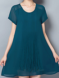 Women's Casual/Daily A Line Dress,Solid Round Neck Mini Short Sleeve Polyester Summer Low Rise Inelastic ExtraSheer