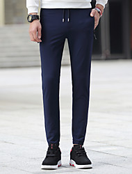 Hombre chinoiserie Sencillo Chic de Calle Tiro Bajo Microelástico Ajustado Chinos Pantalones,Delgado Pitillo Color puro Delgado