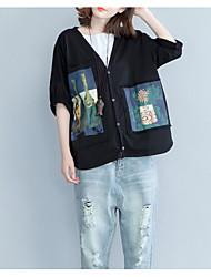 Tee-shirt Femme,Imprimé Décontracté / Quotidien simple Manches ¾ Col en V Coton