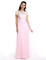 Lan ting noiva vestido de dama de honra - bainha / coluna colher de comprimento do assoalho rendas / tule