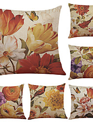 Set of 6 Retro Flowers Pattern Linen Pillowcase Sofa Home Decor Cushion Cover  Throw Pillow Case (18*18inch)