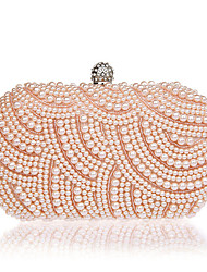 Women Evening Bag Polyester All Seasons Formal Event/Party Wedding Baguette Imitation Pearl Clasp Lock Black White Champagne
