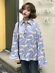 Women's Casual/Daily Simple Summer Blouse,Floral Shirt Collar Long Sleeve Others Thin