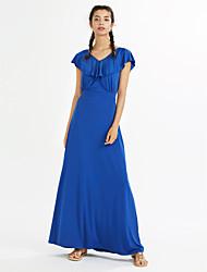 Women's Ruffle Plus Size Beach Party Boho Solid Ruffle V Neck Maxi Short Sleeve Sheath Dress