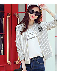 Women's Daily Casual Spring/Fall Jacket,Solid Stripe Stand Long Sleeve Short Cotton Blend