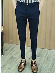 Homme simple Taille Normale Micro-élastique Costume / Tailleur Pantalon,Droite Couleur Pleine