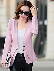 Women's Casual/Daily Simple Spring Leather Jacket,Solid V Neck Long Sleeve Short PU