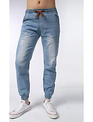 Hombre Sencillo Tiro Medio Microelástico Pantalones de Deporte Pantalones,Delgado Un Color Vaqueros