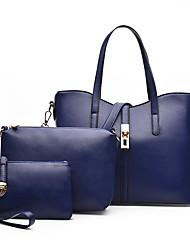 Women Bag Sets PU All Seasons Sports Casual Office & Career Shell Zipper Light Blue Fuchsia Dark Blue Blushing Pink Red