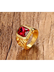 Men's Ring Ruby Vintage Punk Statement Jewelry Titanium Steel Jewelry For Halloween Party/ Evening Daily Ceremony