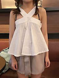 Women's Casual/Daily Simple Tank Top,Solid Halter Sleeveless Cotton
