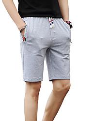 Hombre Adorable Cosecha Sencillo Chic de Calle Activo Tiro Bajo Microelástico Chinos Shorts Pantalones,Delgado Color puro