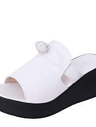 Women's Flats Summer Slingback Leatherette Outdoor Dress Casual Flat Heel Beading Black White Walking