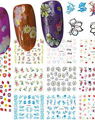 12Design/pcs Fashion Fresh Style Beautiful Flower Design Nail Art DIY Beauty 3D Sticker Sweet Flower Decoration E479-489