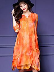 Trapèze Robe Femme Sortie Vintage Chic de Rue,Géométrique Col en V Au dessus du genou Soie Polyester Printemps Automne Taille NormaleNon