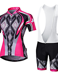 Malciklo Cycling Jersey with Bib Shorts Women's Men's Short Sleeve Bike Clothing SuitsQuick Dry Front Zipper Wearable High Breathability