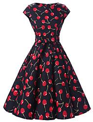Women's Cap Sleeves Black Cherry Floral Dress  Vintage 50s Rockabilly Swing Dress