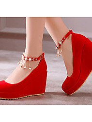 Women's Wedding Shoes Comfort PU Spring Casual Screen Color Red Black Flat