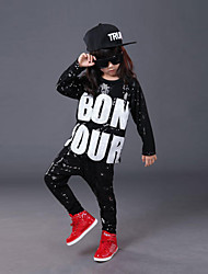 Jazz Outfits Kid's Performance Cotton Sequin 3 Pieces Half Sleeve Tops Pants Hats