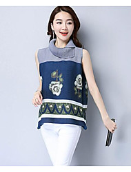 Women's Daily Casual Simple Blouse,Floral Color Block Asymmetrical Sleeveless Stretch Chiffon