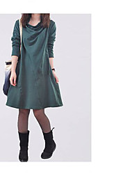 Women's Casual/Daily Simple Tunic Dress,Solid Cowl Knee-length Long Sleeve Cotton Summer Mid Rise Micro-elastic Medium
