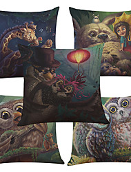 Set of 5 Cartoon Owl Pattern  Linen Pillowcase Sofa Home Decor Cushion Cover (18*18inch)