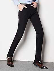 Masculino Simples Cintura Média strenchy Chinos Calças,Skinny
