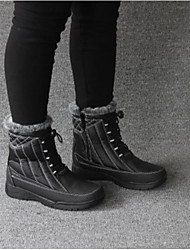 Women's Boots Comfort PU Suede Spring Casual Snow Boots Black/White Black Flat