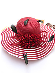 Women's Mesh Bucket Sun Hat Handmade Flower Striped Spring/Fall  Summer  Hats