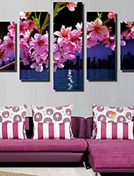 Art Print Floral/Botanical Pastoral,Five Panels Horizontal Print Wall Decor For Home Decoration